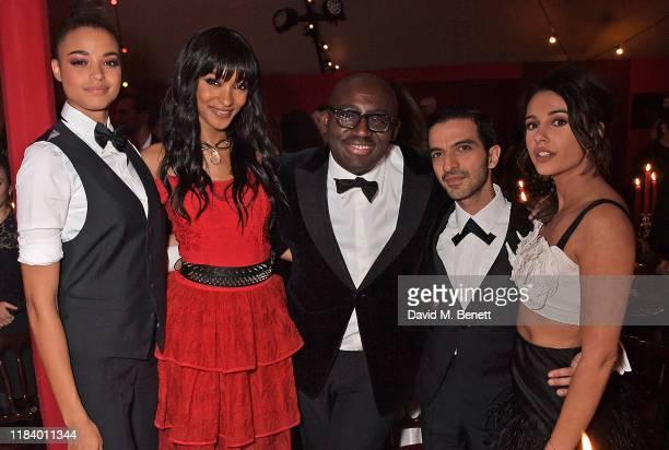 Ella Balinska, Jourdan Dunn, Edward Enninful, Founder & CEO of Business of Fashion Imran Amed and Naomi Scott attend the gala dinner in honour of...