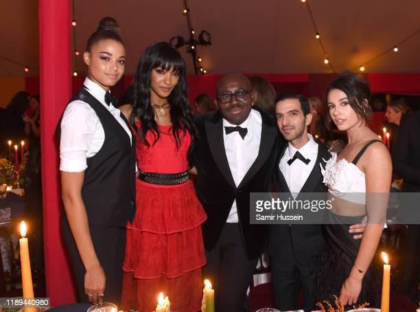 Ella Balinska, Jourdan Dunn, Edward Enninful, Imran Amed and Naomi Scott attend the gala dinner in honour of Edward Enninful, winner of the Global...