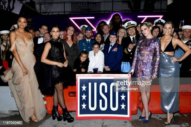 Ella Balinska Naomi Scott Kristen Stewart and Elizabeth Banks pose with WME mentees during the premiere of Columbia Pictures' Charlie's Angels at...