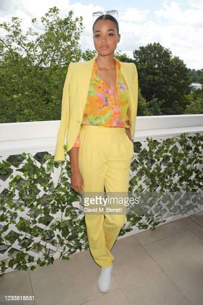 Ella Balinska, wearing Ralph Lauren, attends the Polo Ralph Lauren & British Vogue day during Wimbledon at All England Lawn Tennis and Croquet Club...