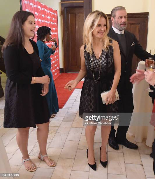 Ella Bleu Travolta, Kelly Preston and John Travolta attend the Ambi Gala In Honor of the Movie 'Trading Paint' on September 1, 2017 at an unspecified...