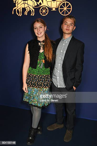Ella Dallaglio and Rafferty Law attend the Coach FW16 show front row during London Collections Men at The Lindley Hall on January 9 2016 in London...