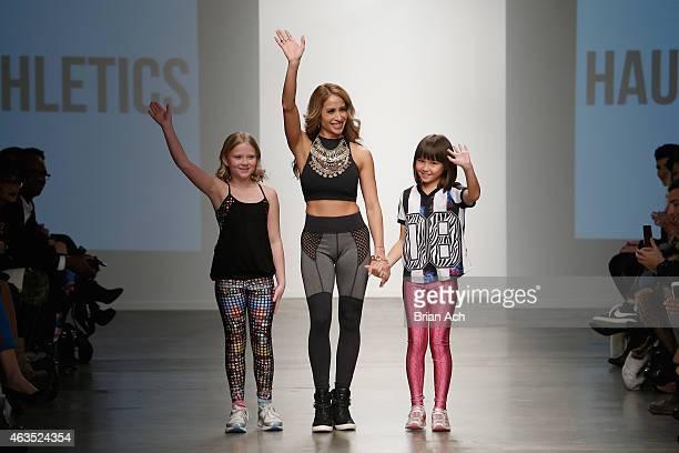 Ella Davis, Margarita Ventura of Haute Athletics and Misaki Walker pose for a picture backstage at the Nolcha Fashion Week New York Fall Winter...