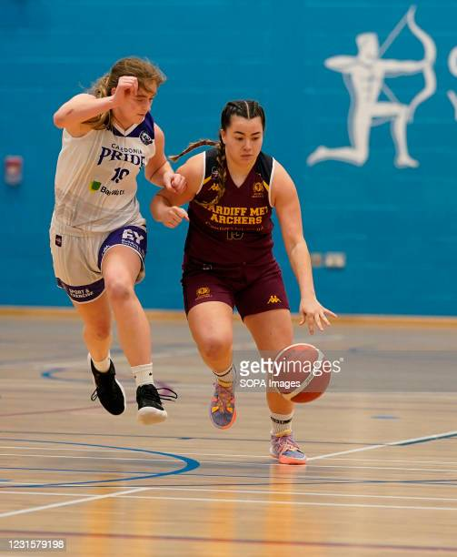 Ella Doherty and Kim Kheing are seen in action during the Women's British Basketball League match between WBBL Cardiff Archers and Caledonia Pride at...