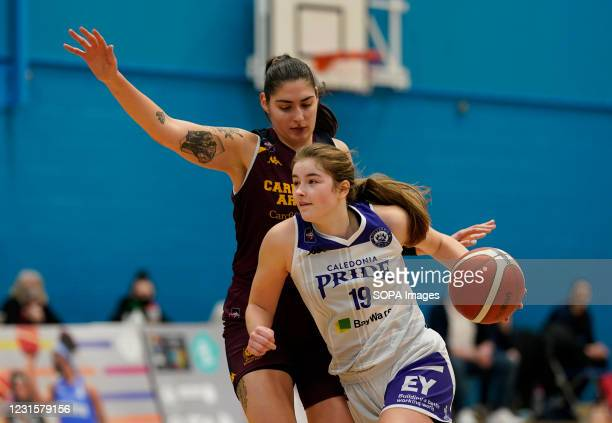 Ella Doherty seen in action during the Women's British Basketball League match between WBBL Cardiff Archers and Caledonia Pride at Cardiff Archers...