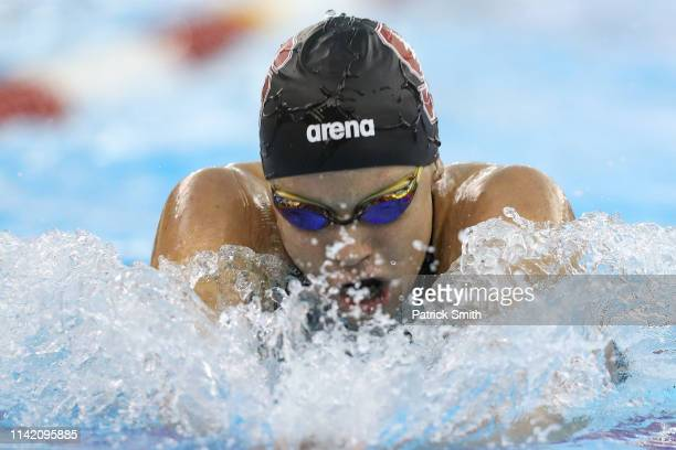 Ella Easton competes in the women's 400 meter individual medley final during day two of the TYR Pro Swim Series at Collegiate School Aquatics Center...