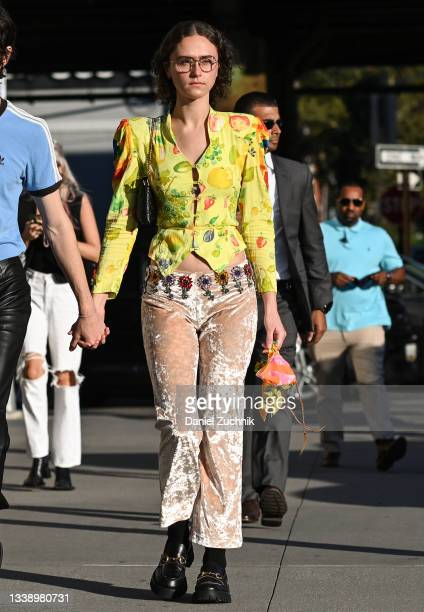 Ella Emhoff is seen wearing a Collina Strada green floral top and Collina Strada pants outside the Collina Strada show during New York Fashion Week...