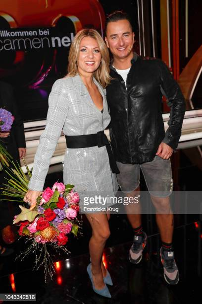 Ella Endlich and Andreas Gabalier during the television show 'Willkommen bei Carmen Nebel' at Velodrom on September 29 2018 in Berlin Germany