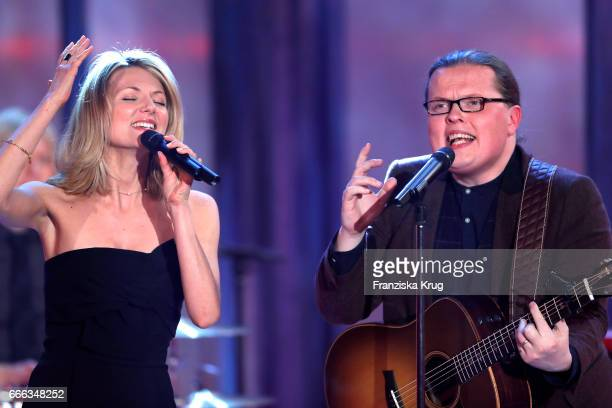 Ella Endlich and Angelo Kelly during the television show 'Willkommen bei Carmen Nebel' on April 8 2017 in Magdeburg Germany
