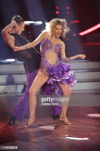 Ella Endlich and Valentin Lusin perform on stage during the 5th show of the 12th season of the television competition Let's Dance on April 26 2019 in...
