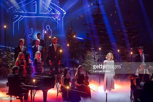 Ella Endlich performs during the 'Heiligabend mit Carmen Nebel' TV show at Bavaria Filmstudios on November 26 2015 in Munich Germany
