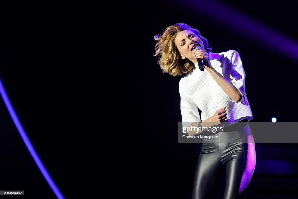 Ella Endlich performs on stage during the tv show 'Willkommen bei Carmen Nebel' at Tempodrom on April 7, 2016 in Berlin, Germany.