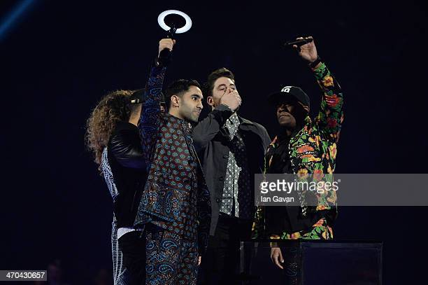 Ella Eyre Amir Amor DJ Locksmith Kesi Dryden and Piers Aggett of Rudimental receives the award for British Single at The BRIT Awards 2014 at 02 Arena...