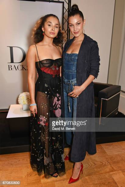 Ella Eyre and Dior spokesmodel Bella Hadid celebrate the launch of her new Dior Pump 'N' Volume Mascara at Selfridges on April 20 2017 in London...