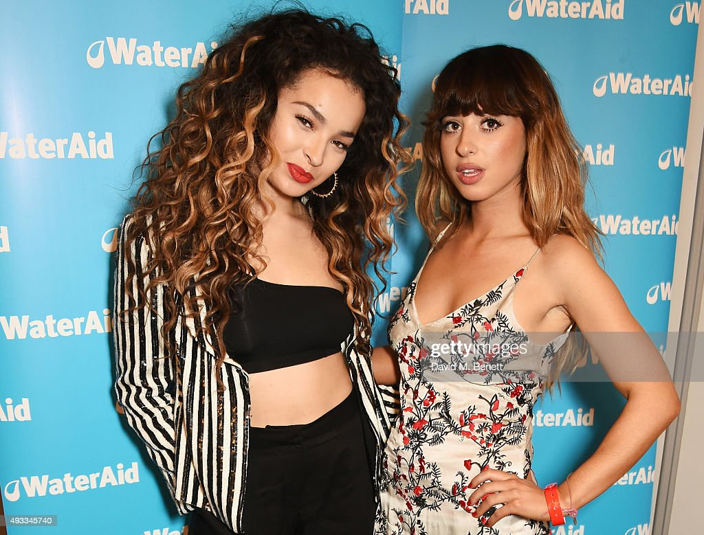 Ella Eyre (L) and Foxes pose at The Q Awards at The Grosvenor House Hotel on October 19, 2015 in London, England.