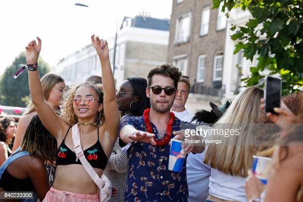Ella Eyre and guests on board the Red Bull Music Academy x Magrove float at Notting Hill Carnival on August 28 2017 in London England