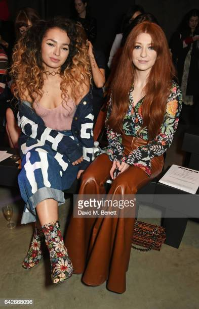 Ella Eyre and Nicola Roberts attend the House of Holland show during the London Fashion Week February 2017 collections on February 18, 2017 in...
