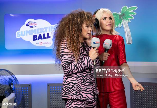 Ella Eyre and Paloma Faith in the on air studio during Capital's Summertime Ball with Vodafone at Wembley Stadium London PRESS ASSOCIATION Photo This...