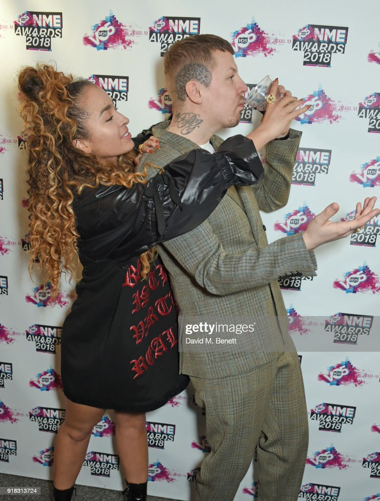 Ella Eyre and Professor Green in the winners room during the VO5 NME Awards held at Brixton Academy on February 14, 2018 in London, England.