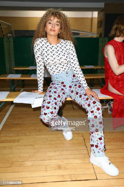 Ella Eyre attends the Ashish show during London Fashion Week September 2019 at Seymour Hall on September 15 2019 in London England