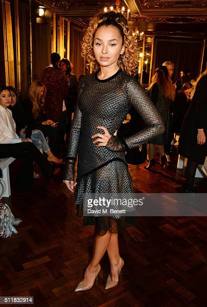 Ella Eyre attends the Emilio de la Morena show during London Fashion Week Autumn/Winter 2016/17 at Hotel Cafe Royal on February 23 2016 in London...