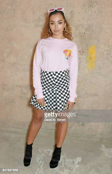 Ella Eyre attends the House Of Holland SS18 catwalk show during London Fashion Week September 2017 at TopShop Show Space on September 16 2017 in...