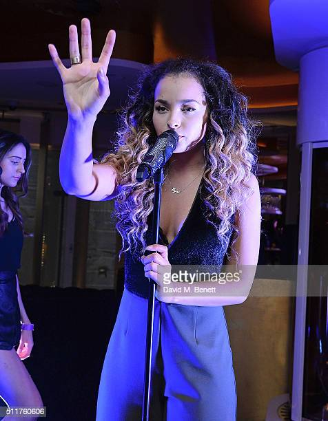 Ella Eyre attends the JF London Presentation and Party during London Fashion Week Autumn/Winter 2016/17 at W London Leicester Square on February 22...