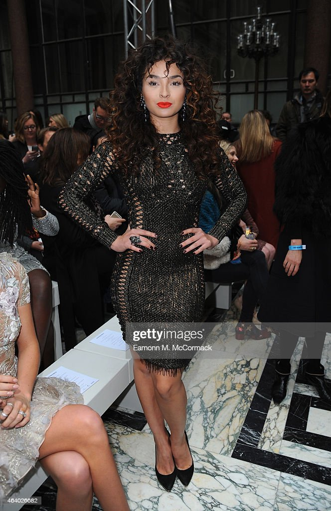 Ella Eyre attends the Julien Macdonald show during London Fashion Week Fall/Winter 2015/16 on February 21, 2015 in London, England.