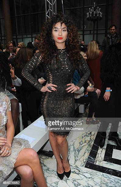 Ella Eyre attends the Julien Macdonald show during London Fashion Week Fall/Winter 2015/16 on February 21 2015 in London England