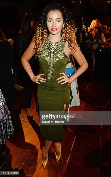 Ella Eyre attends the Julien Macdonald show during London Fashion Week Autumn/Winter 2016/17 at One Mayfair on February 20 2016 in London England