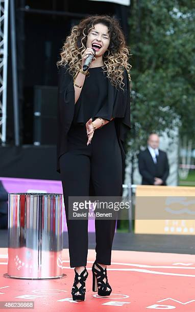 Ella Eyre attends the launch of the new remastered Fiat 500 featuring an exclusive performance by Ella Eyre at Potters Field Park on September 2 2015...