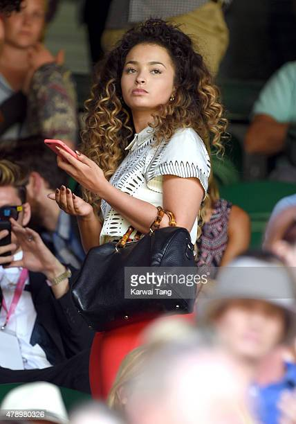 Ella Eyre attends the Maria Sharapova v Johanna Konta match on day one of the Wimbledon Tennis Championships on June 29 2015 in London England