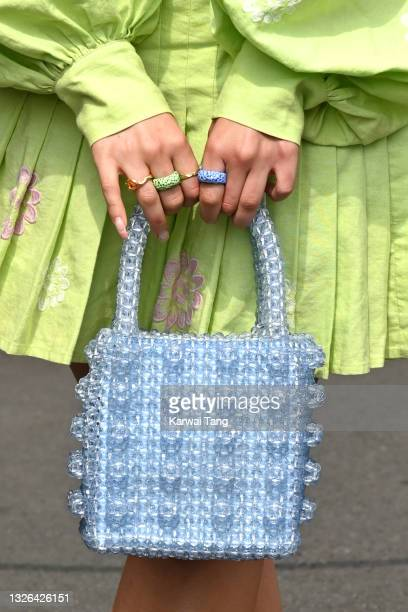 Ella Eyre, bag detail, attends Wimbledon Championships Tennis Tournament at All England Lawn Tennis and Croquet Club on July 01, 2021 in London,...