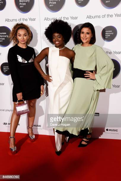 Ella Eyre Clara Amfo and Jessie Ware arrive at the Hyundai Mercury Prize 2017 at Eventim Apollo on September 14 2017 in London England