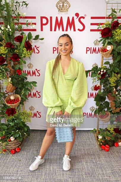 Ella Eyre enjoys PIMM'S No 1 hospitality at The Championships, Wimbledon on July 1, 2021 in London, England.