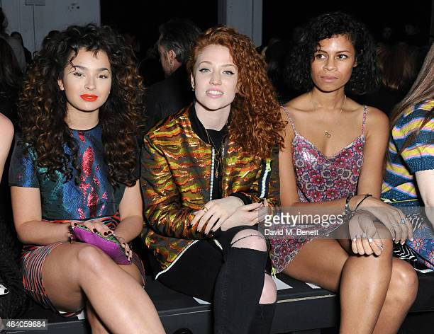 Ella Eyre Jess Glynne and Aluna Francis attend the House of Holland show during London Fashion Week Fall/Winter 2015/16 at University of Westminster...