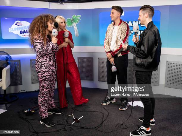 Ella Eyre Paloma Faith Roman Kemp and Sigala in the on air studio during Capital's Summertime Ball with Vodafone at Wembley Stadium London PRESS...