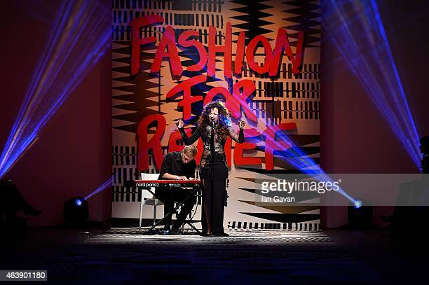 Ella Eyre performs at the Fashion For Relief charity fashion show to kick off London Fashion Week Fall/Winter 2015/16 at Somerset House on February...