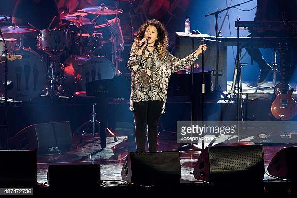 Ella Eyre performs at Wear The Rose Live at The O2 Arena on September 9 2015 in London England