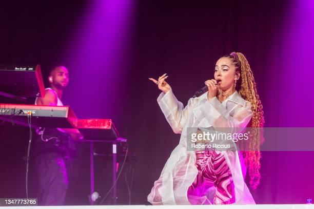 Ella Eyre performs on stage at SWG3 on October 20, 2021 in Glasgow, Scotland.