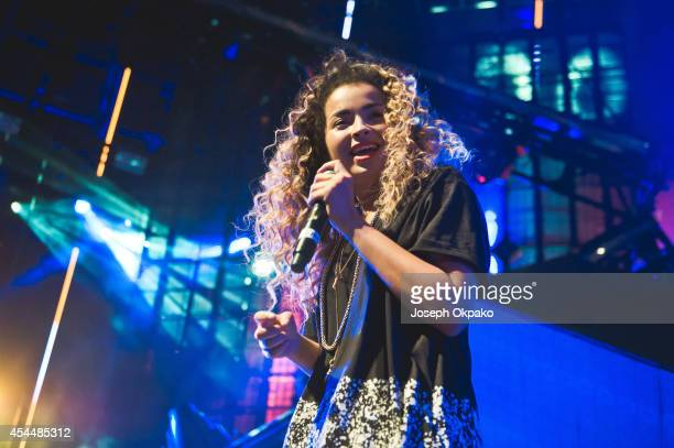 Ella Eyre performs on stage with Friend Within at iTunes Festival at The Roundhouse on September 1 2014 in London United Kingdom