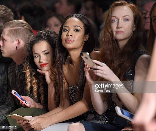 Ella Eyre SarahJane Crawford and Olivia Grant attend the Julien Macdonald show during London Fashion Week Autumn/Winter 2016/17 at One Mayfair on...