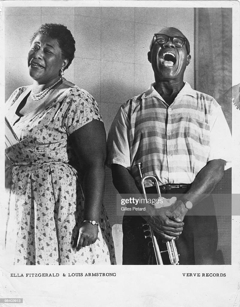 Ella Fitzgerald and Louis Armstrong in the recording studio