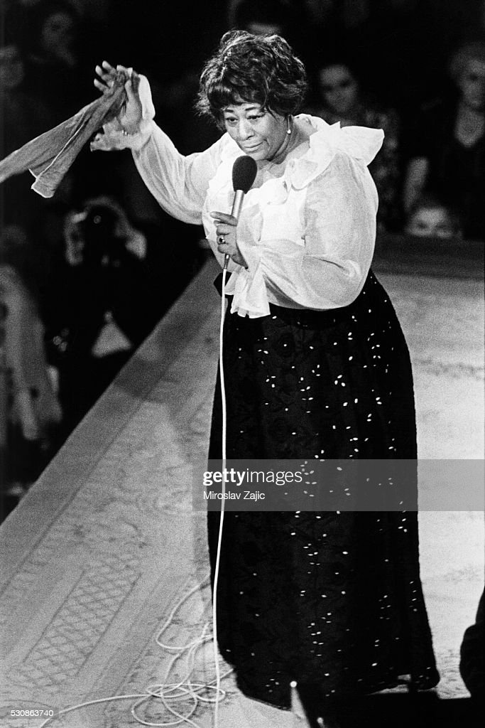 Ella Fitzgerald gives a concert at Lucerna Hall in Prague, Czechoslovakia.