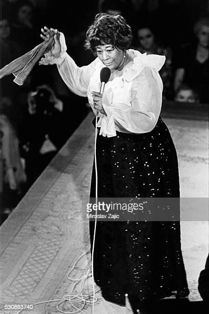 Ella Fitzgerald gives a concert at Lucerna Hall in Prague Czechoslovakia