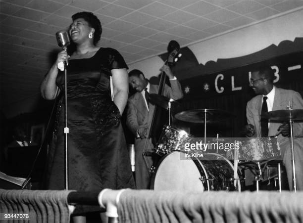 Ella Fitzgerald performs on stage with Ray Brown on bass in a jazz club circa 1963 in Philadelphia Pennsylvania