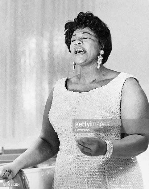 Ella Fitzgerald singing in NBC Studios in Manhattan as a guest of the Dinah Shore Chevy Show in March 1959