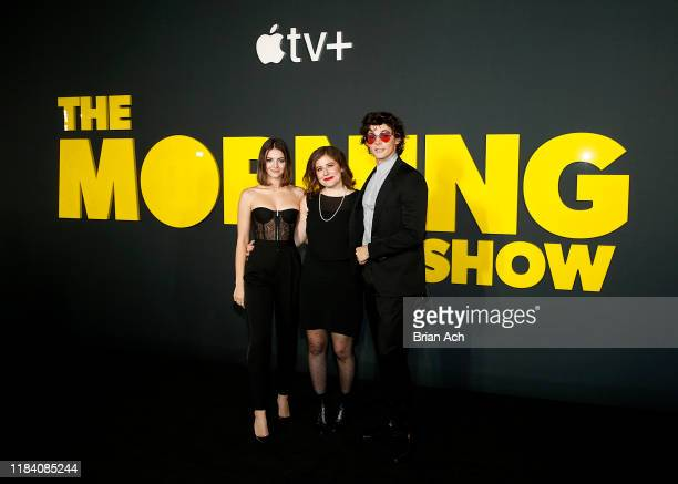Ella Hunt Alena Smith and Adrian Blake Enscoe attend Apple's global premiere of The Morning Show at Josie Robertson Plaza and David Geffen Hall...