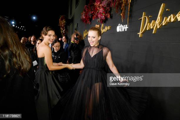 Ella Hunt Anna Baryshnikov attend Apple's Global Premiere for Dickinson on October 17 2019 in Brooklyn New York Dickinson debuts on Apple TV the...