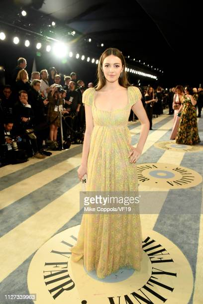 Ella Hunt attends the 2019 Vanity Fair Oscar Party hosted by Radhika Jones at Wallis Annenberg Center for the Performing Arts on February 24 2019 in...